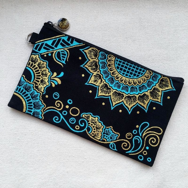 Hand Painted Henna bag Mandala bag Gold Tiffany Blue Black Pattern Zipper Pouch Coin Purse Cotton Cosmetic Bag Pencil Case Phone Wallet Hand Drawn Art