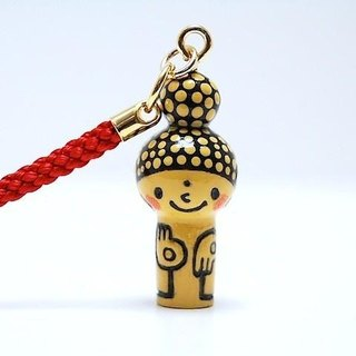 mini Kokeshi * Amitabha customers * strap * smiling [11]