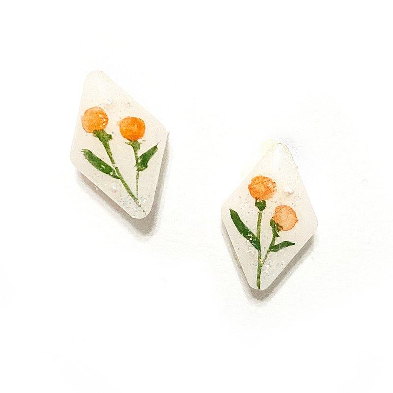 日本樹脂手繪水彩花朵耳環