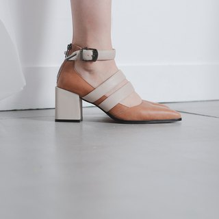 Rate thick buckle buckle rough high heels brown