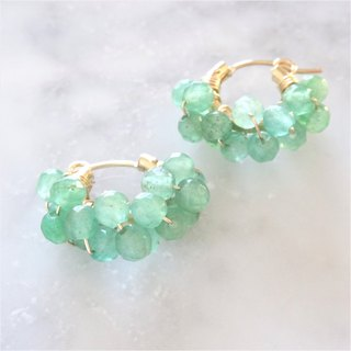 【FOR Ms.rrooxxyy11】14kgf*Green Aventurine wrapped hoop pierced earring / earring