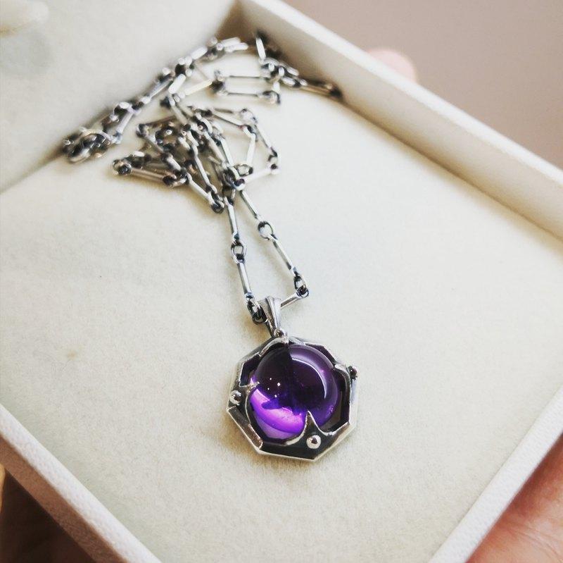 OCTAGON 古銀紫水晶墜鍊