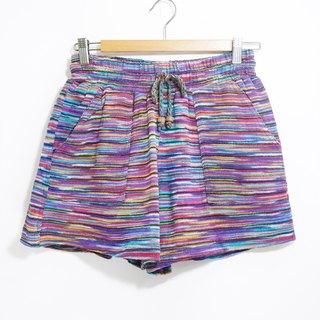 Women's limited edition Christmas gift handmade folk style national wind stitching knit shorts - blue-violet hue gradient