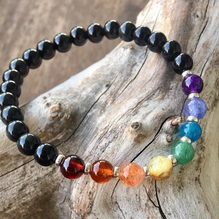 . My.Crystal. 6mm Natural Stone Rainbow Bracelet (Black Obsidian Chain + Silver Bead Version)
