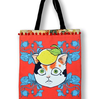 GOOKASO double-sided shopping bag TOTE BAG orange lemon cats cotton and linen printed pattern back Japanese kimono toast satin colored beads lace