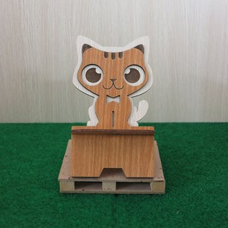 Taiwan stack [customization - color pattern lettering can be replaced] wooden mobile phone holder - big eyes cat phone holder / decorations / business card holder / gift / gifts / mobile phone accessories / stationery
