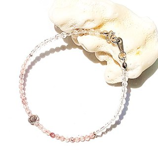 <Pet Love Series-Future> Strawberry Crystal White Crystal 925 Sterling Silver Bracelet Customized Gift