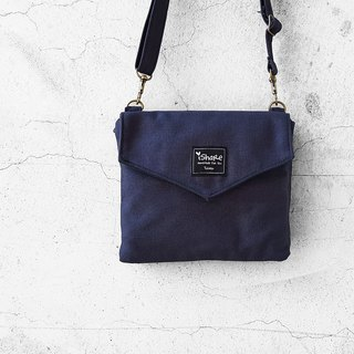 Double Envelope Shoulder Bag - Dark Blue (Multiple Mezzanine / Carrying Bag / Walking Bag)