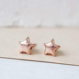 Lucky Star Earrings/ Rose Gold Star Earrings/ Origami Star Earrings/ Silver Star Earrings