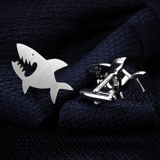 Shark Cufflinks - Sterling silver Cufflinks - Fish cufflinks
