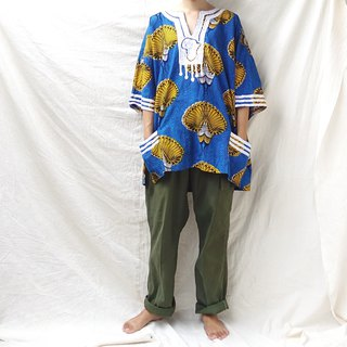 BajuTua / vintage / West African batik floral top (both men and women)