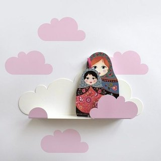 Clouds modeling shelf + wall stickers (pink)