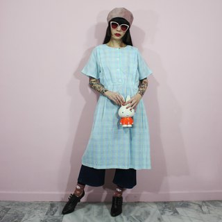 Made in Japan (Vintage Dress) Blue Green Day and Small Plaid Japanese Vintage Dress F3239
