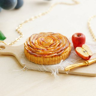 Apple Pie Handmade Necklace 24k Gold-Plated Polymer Clay