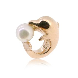 SOUSA CHINENSIS SHAPED SILVER CHARM WITH AKOYA PEARL