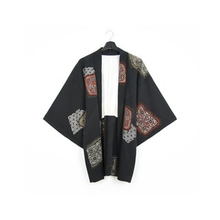 Back to Green-Japan brought back feather weaving embroidery checkered pattern/vintage kimono