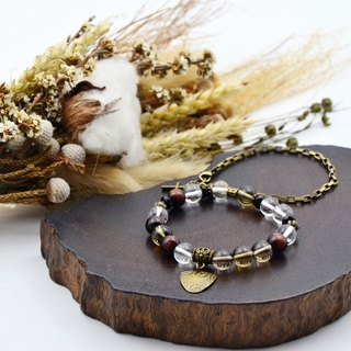 Copper Word | Tea Crystal Tiger Eye Black Agate Natural Stone Bracelet