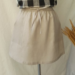 Linen Short Skirt - Khaki