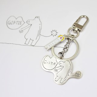 Children's Art Jewelry / 925 Sterling Silver / GIFTIE Dinosaur Keyring / Advanced Custom