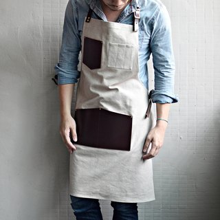 【Invisible cloak gear】 leather pockets washed canvas apron (khaki canvas + chocolate leather)