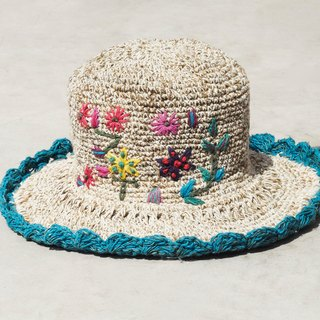 Mother's Day gift limited a hand-woven cotton / hat / hat / fisherman hat / sun hat / straw hat / straw hat - Boho colorful embroidery flowers forest wind (blue)