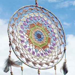 National style boho hand-woven cotton and linen rainbow dream catcher hanging dream Cather-lace macaron