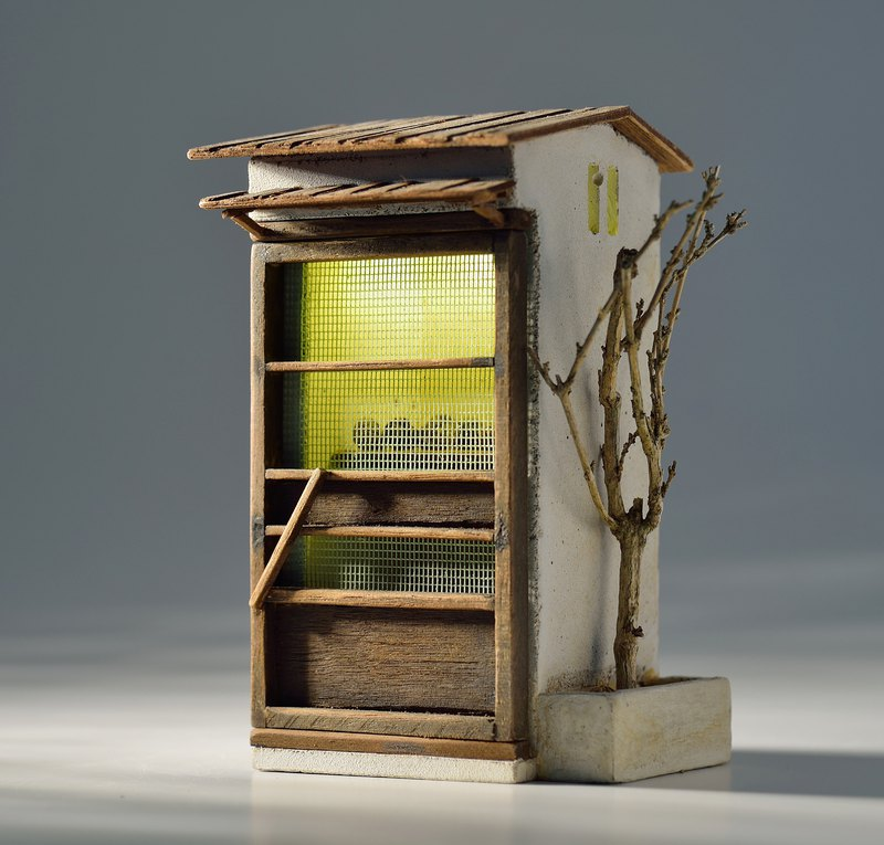 Small cement old door cabinet (with lights) (customized)