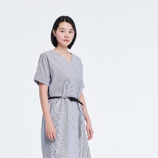Edith Shortsleeve Shirtdress in Striped Cotton