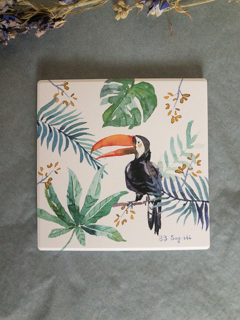 熱帶大嘴鳥/陶瓷吸水杯墊