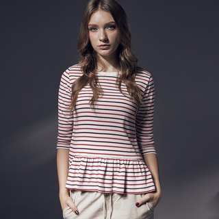 Stripe splicing skirt long-sleeved round neck blouse