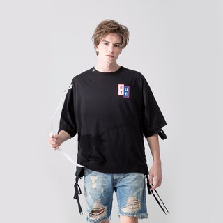 UNISEX LACE UP HEM ROUND NECK T SHIRT / Black