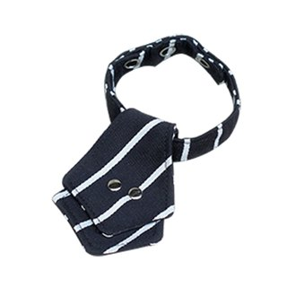 Cat collar black and white striped tie