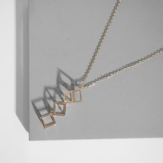 18K Rose Gold Cubic Cube Necklace Valentine's Day Gift