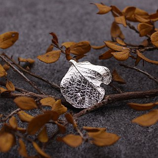 Leaf 925 Sterling Silver Pins Nature Plant