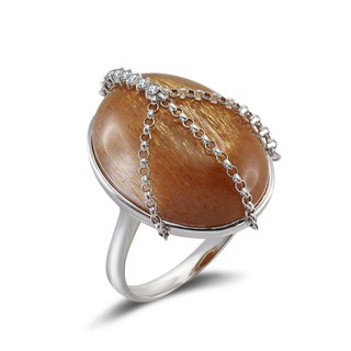 Sunstone Diamond Ring