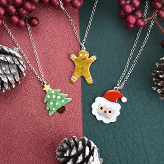 Christmas Good Q Series - Christmas Tree, Gingerbread Man, Santa Claus (珐琅 sterling silver necklace)