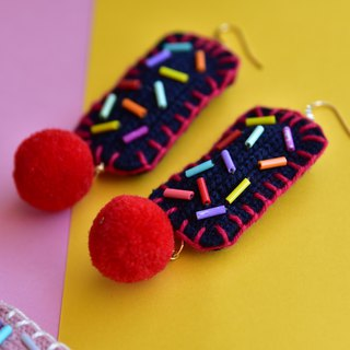 Navy Blue Braided Embroidery Rectangle Earrings