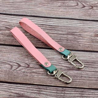 【U6.JP6 handmade leather goods】 - pure hand-stitched handmade Caron pink leather hand-held universal strap / leather keychain / universal strap