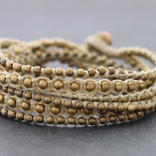 Ivory Stud Wrap Bracelets Brass Beaded Woven Strong Rocker Attitude Short Necklaces
