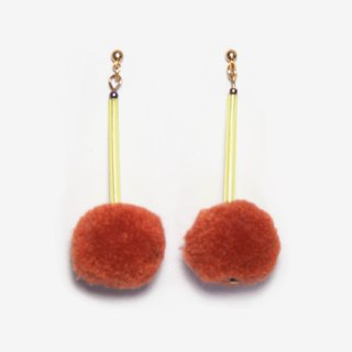 POMPOM Earrings - Bronze & Yellow, Post Earrings, Clip-on Earrings