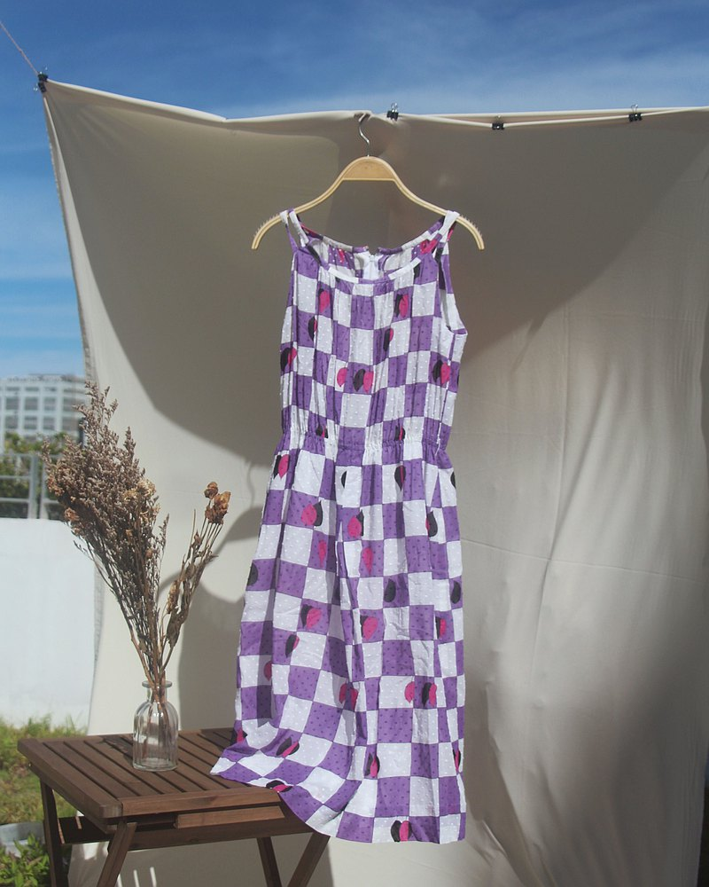 (VINTAGE/UNIQUE) Purple/white check pattern dress