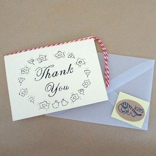 "Mimeograph print greeting card ""Thank You"" (cream)"