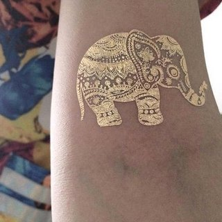TOOD tattoo stickers | arm position bronzing ethnic elephant animal tattoo tattoo stickers (2)