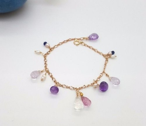 Crystal girl world - [intertwined] - K gold wire hand made natural crystal bracelet