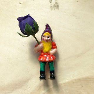 Mini Brooches - Goblin in the garden My Garden Gnome (Orange 3 models / pins)