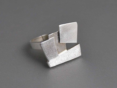 925 sterling silver square texture three-dimensional neutral minimalist modern rock adjustable ring geometry creative design gift R078 | Greek original handmade jewelry This and That