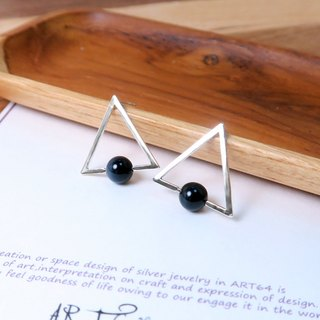 Eagle Eye Triangular stone stud earrings - 925 sterling silver natural stone earrings