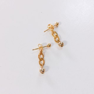Limited Mini Chain Ball Gold Plated Earrings