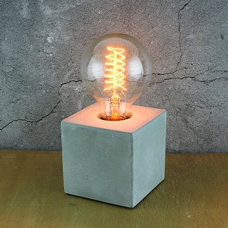 Cement products-cement lamp holder-industrial hand-made - with Edison bulb - gray cement version -9x9x9CM