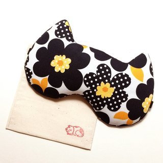 Night Cat Sleep Mask - Black Flower